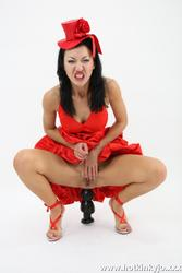 [HotKinkyJo] Lady in red - gape, toy & prolapse